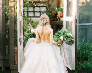 Bride entering doorway