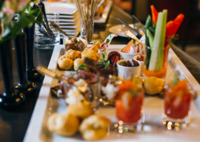 Food appetizers on table at wedding reception